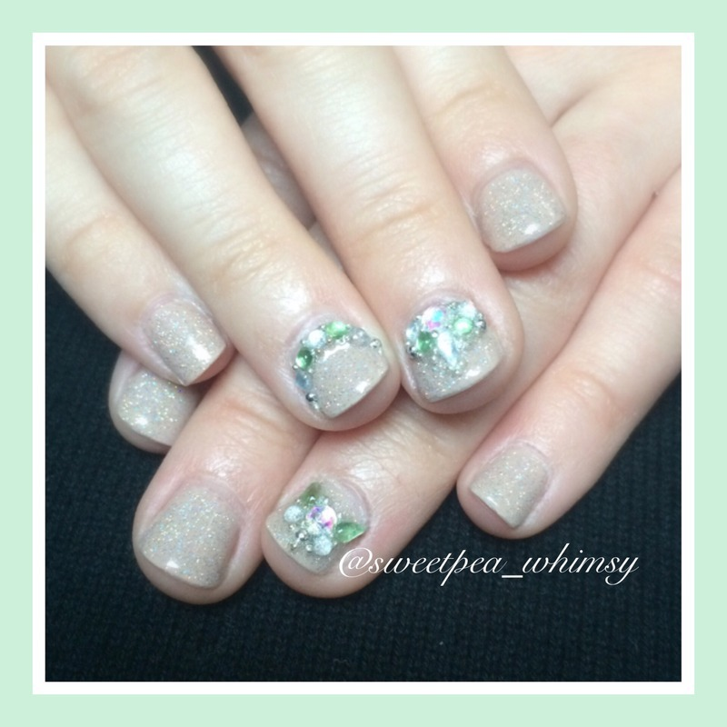 Jeweled Butterflies on Glittered Nude (Kids Nails) nail art by SweetPea_Whimsy