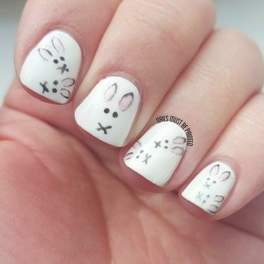 Easter Bunnies nail art by Emily