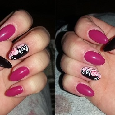 First acrylic paint nail art by Magda