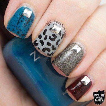 Punk rock muted dark studs nail art 4 thumb370f