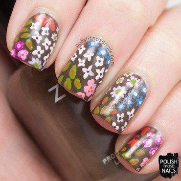 Brown spring bright floral pattern nail art 4 thumb370f