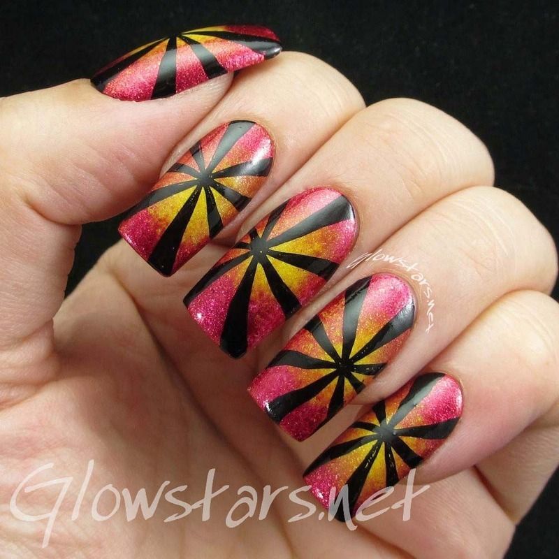 Oriental Sun nail art by Vic 'Glowstars' Pires