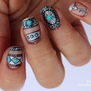 Boho nail art  nail art by Volish Polish