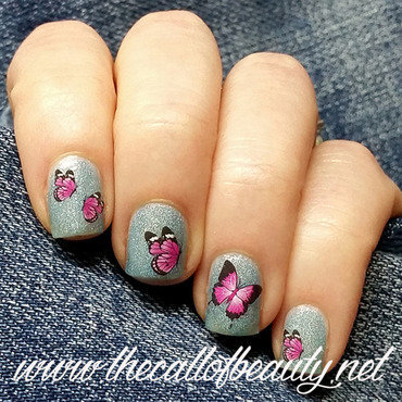 Pink Butterflies nail art by The Call of Beauty