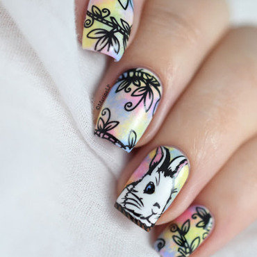 Easter bunny in the magic forest nail art 20 5  thumb370f
