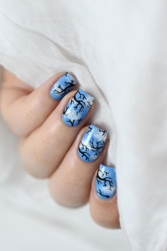 Spring sky nail art by Marine Loves Polish
