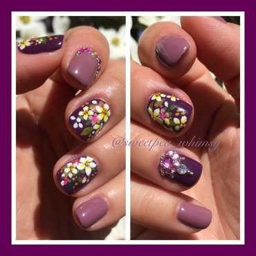 Purple Spring Bouquet  nail art by SweetPea_Whimsy