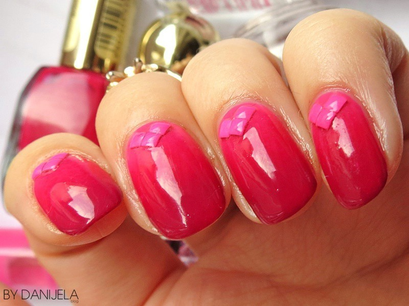 Pink gradient nails with neon studs nail art by bydanijela