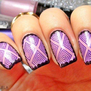 Geometric border manicure nail art by bydanijela