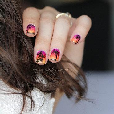 Coucher de soleil nail art by Tenshi_no_Hana