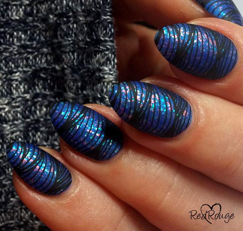Cobalt glitter waves nail art by RedRouge