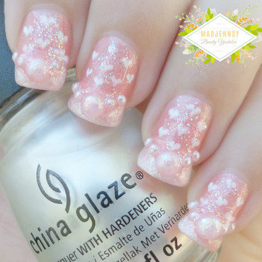 Romantic Hearts Pattern Nail Art Design  nail art by madjennsy Nail Art