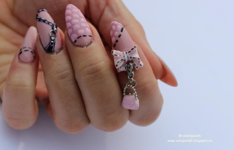 Acrylic nails inspired by handbag nail art by Volish Polish