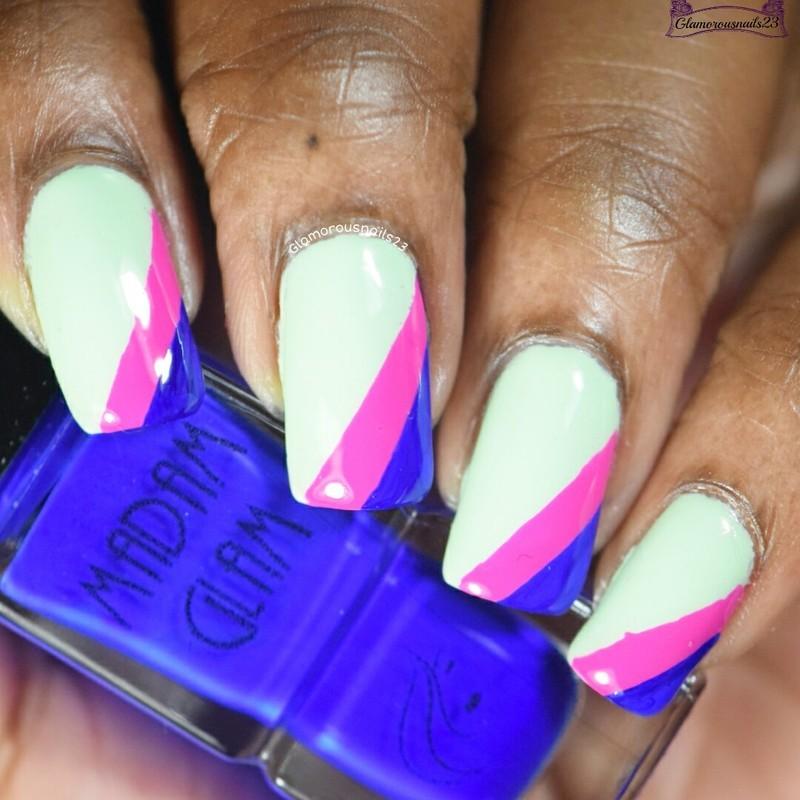 Mint, Fuchsia & Cobalt  nail art by glamorousnails23