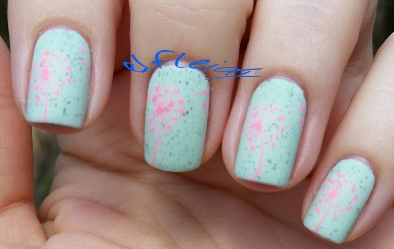 Dandelions nail art by Jenette Maitland-Tomblin