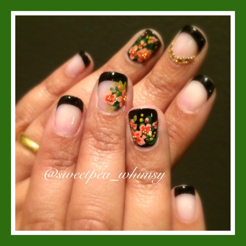 🖤 Floral on Black French Manicure nail art by SweetPea_Whimsy
