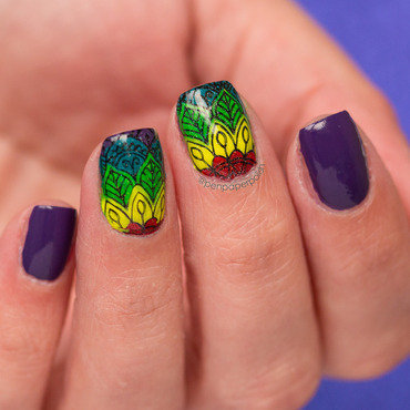 Reverse Stamping nail art by Misty