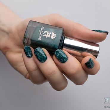 Du marbré et du vert : inspiration shattuckite nail art by Kate C.