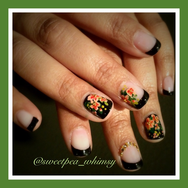 🖤 Floral on Black French Manicure - Take Two nail art by SweetPea_Whimsy