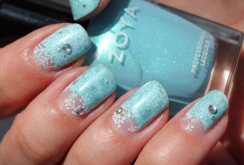 Princess Elsa's dress nail art by Polished Polyglot