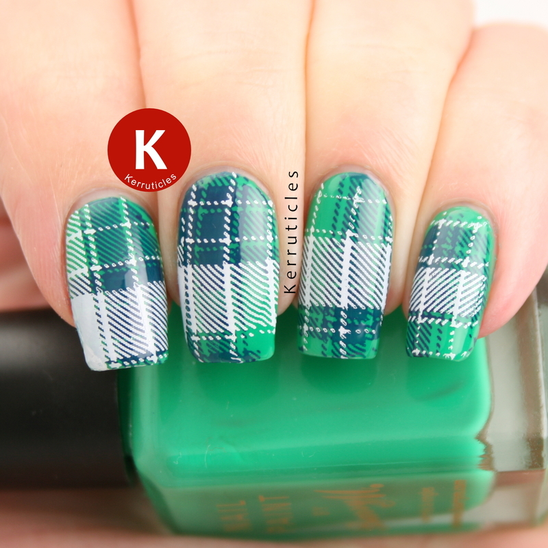 Green, blue and white tartan nail art by Claire Kerr