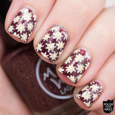 Midwest lacquer click three times burgundy holo floral nail art 3 thumb370f