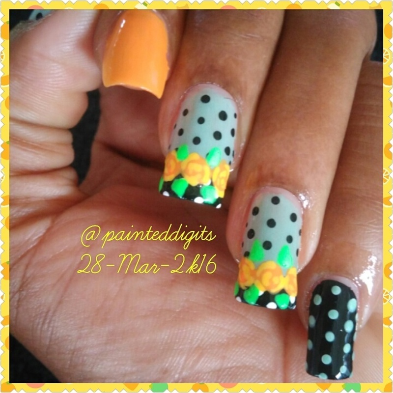 Floral & Dotticure nail art by Painted Digits