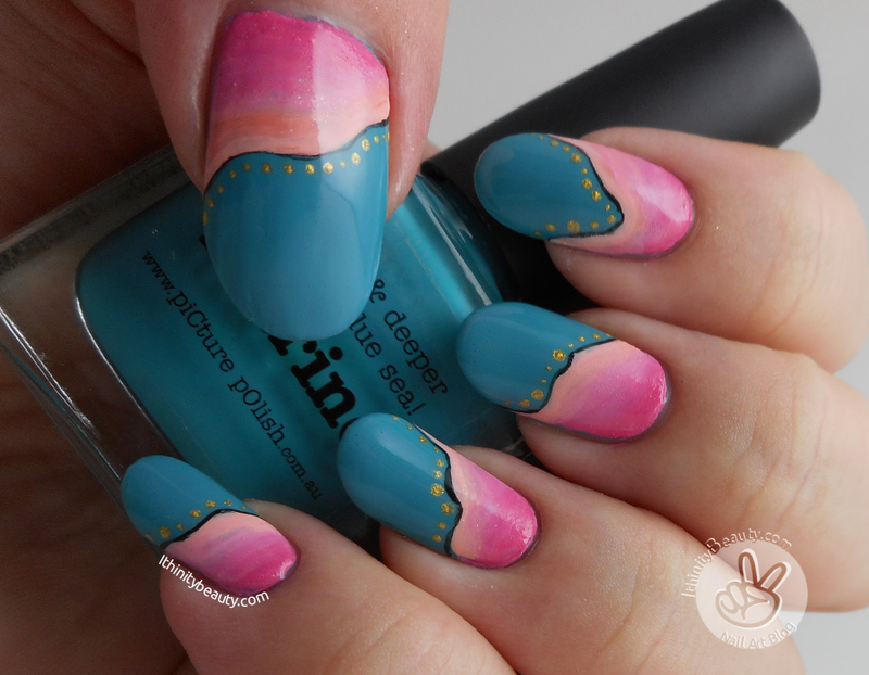 Pink, Orange And Teal Acrylic Waves nail art by Ithfifi Williams