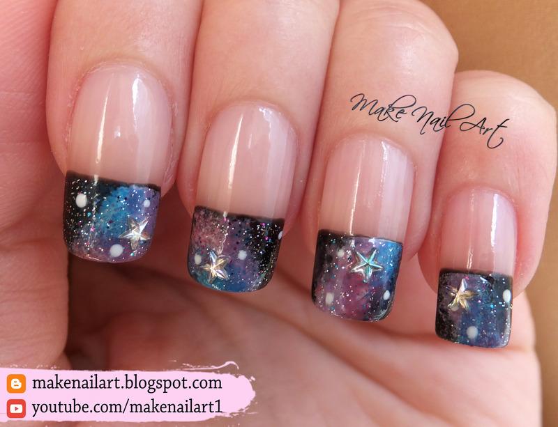 Galaxy French Manicure Nail Art Design nail art by Make Nail Art - Galaxy French Manicure Nail Art Design Nail Art By Make Nail Art