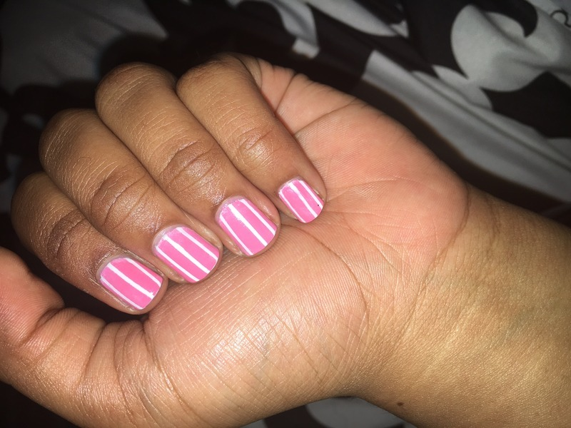 PINK nail art by paxamnights
