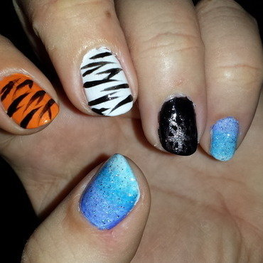 Magical Zebra nail art by Belinda