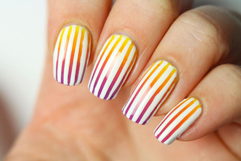 Sunset gradient and striping tape nail art by Tribulons