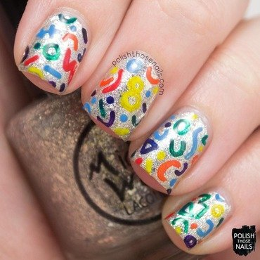 Midwest lacquer sandwiches and buttermilk silver flakies rainbow pattern nail art 4 thumb370f