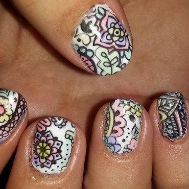 Watercolours nail art by Belinda