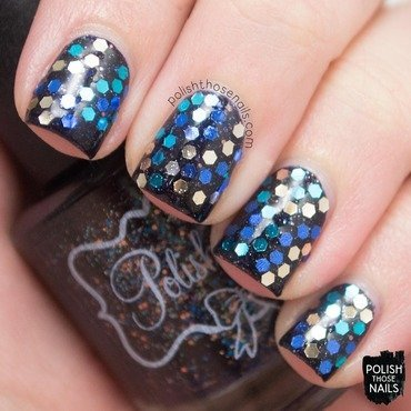 Dark glequin glitter placement nail art 4 thumb370f