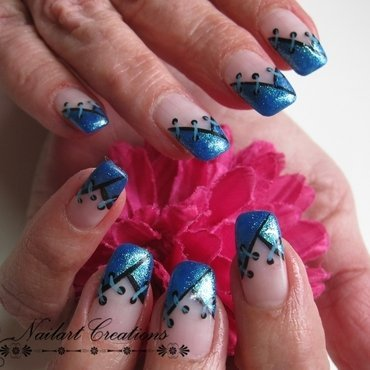 Deep blue nail art by Nailart Creations