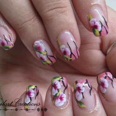 One Stroke Roses nail art by Nailart Creations