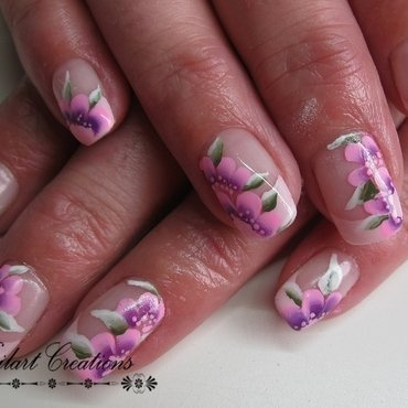 Pink One Stroke nail art by Nailart Creations