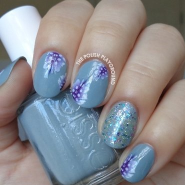 Blue Grey with Purple Feather Decals nail art by Lisa N