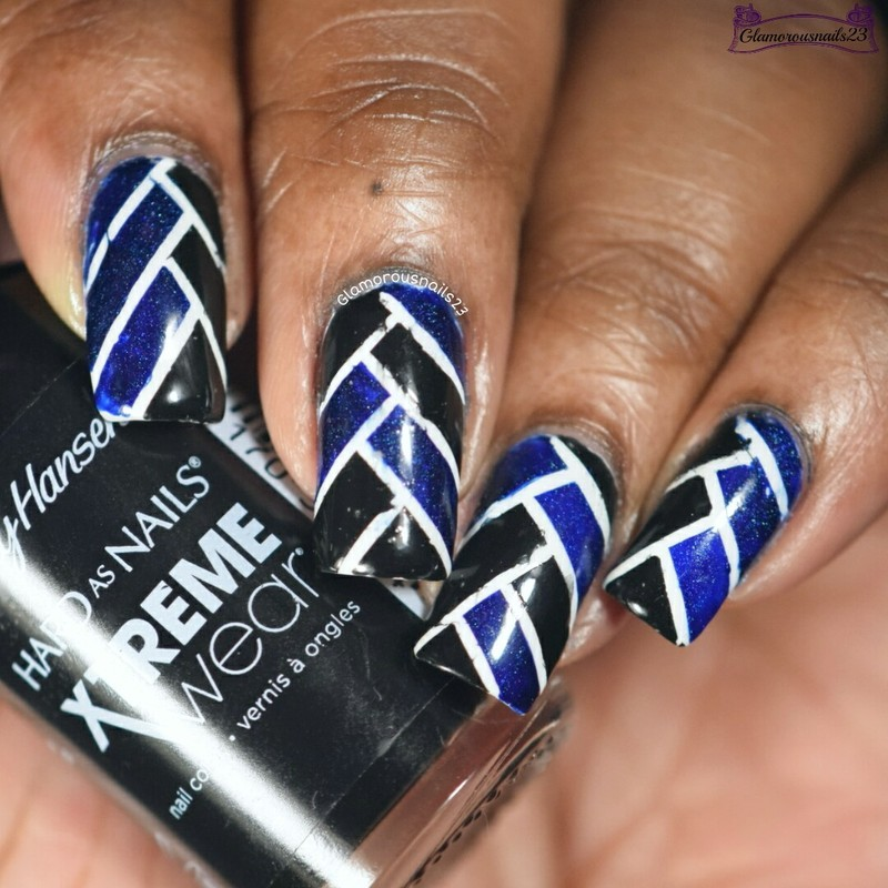 When Colors Collide: Black, White & Blue nail art by glamorousnails23