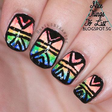 Rainbow Patterned nail art by Karise Tan