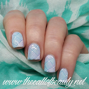 Gradient + Stamping in Purple and Teal nail art by The Call of Beauty