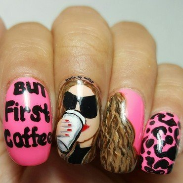 But first Coffee  nail art by Milly Palma
