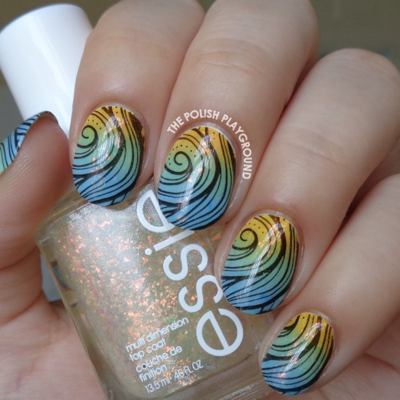 Spring Colored Gradient with Black Swirly Stamping nail art by Lisa N