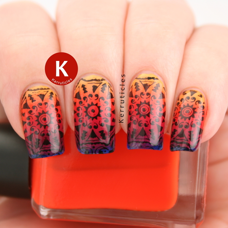 Tribal gradient stamping nail art by Claire Kerr