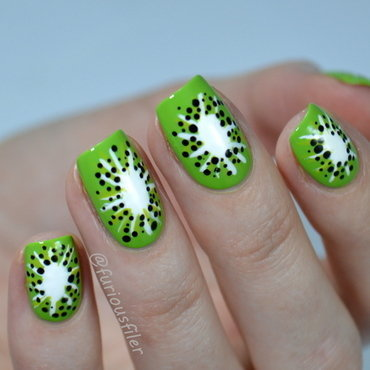 Kiwi Fruit nail art by Furious Filer