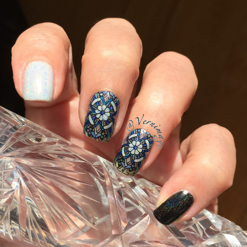 Blue, black and white reverse stamping nail art by Vernimage