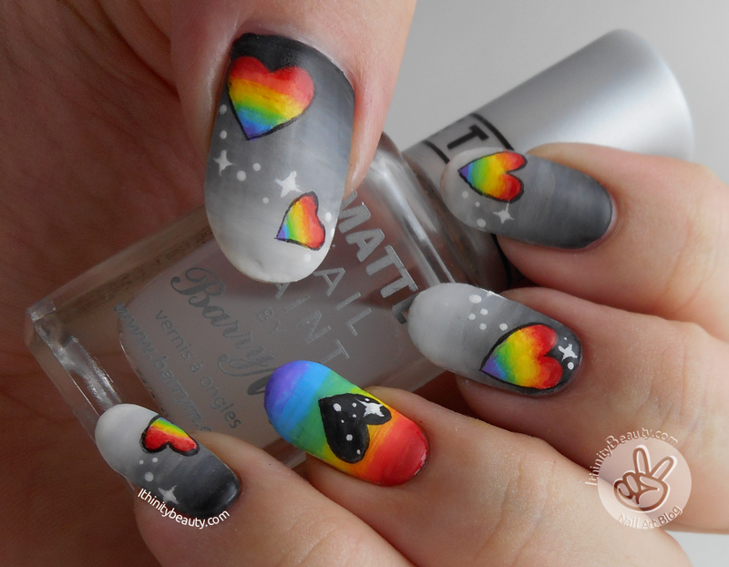 Freehand Acrlic Greyscales And Rainbow Hearts nail art by Ithfifi Williams