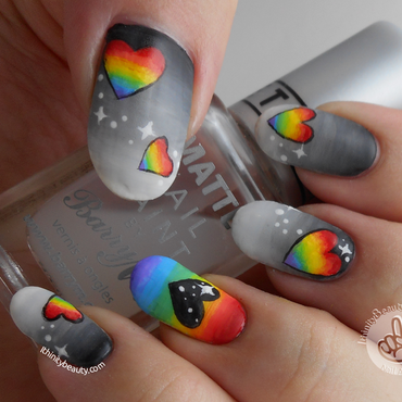 Freehand Acrlic Greyscales And Rainbow Hearts nail art by Ithfifi Williams