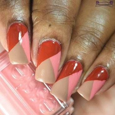 Red, Salmon & Milk Chocolate Color Block nail art by glamorousnails23
